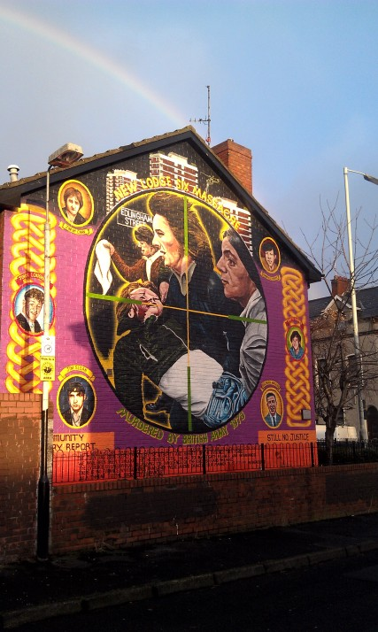 A mural commemorating the 6 men killed by the British Army on Feb. 3, 1973